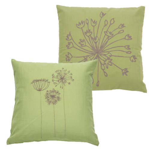 Allium Embroidered Throw Pillow