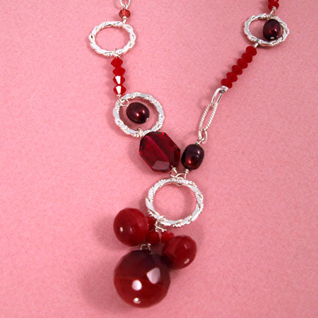 Sweet Ruby Colored Crystal Necklace