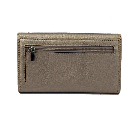 Silver Buckle Pewter Long Wallet