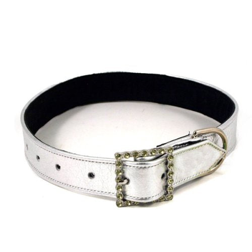 Metallic Silver Rhinestone Dog Collar