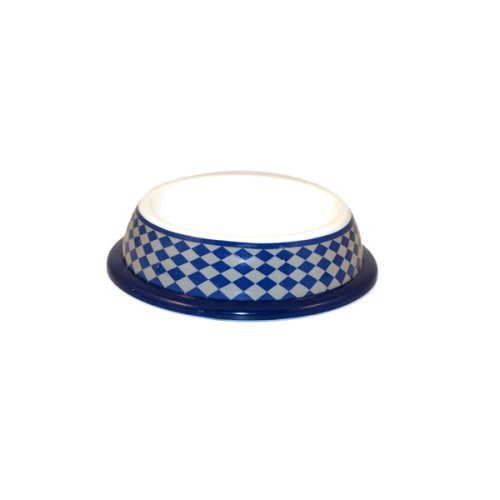 University Checker Non-Skid Blue Pet Bowl