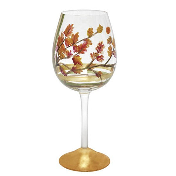 Fall Leaves Red Wine Glass