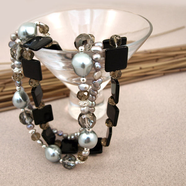 Ebony Glass Bead & Faux Pearl Necklace