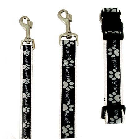 Paws Black & White Woof Collar