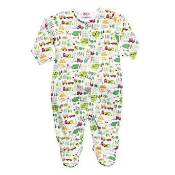 Zutano Print Footie - Farm Fresh White, 6-9 months