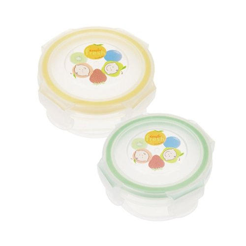 Round Food Storage Container, Yellow/Green, Stage 1