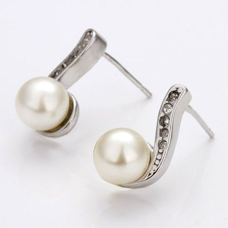 Elegant Faux Pearl Accent Earrings