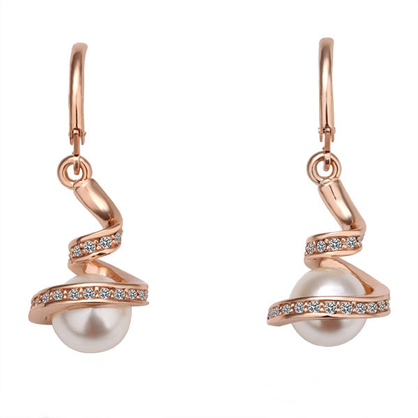 Swirl Drop Earrings with Faux Pearl
