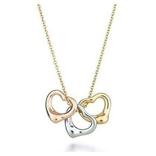 Sterling Silver & Gold Plated Three Hearts Necklace