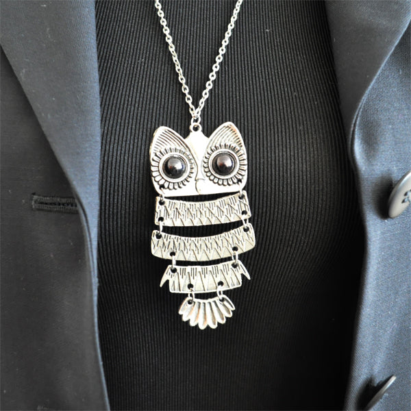 Tibetan Silver Night Owl Necklace
