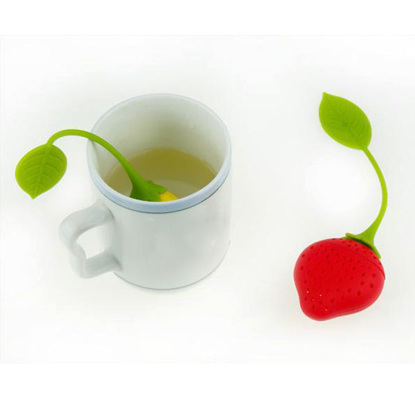 Silicone Tea Infuser & Cup Lid - Strawberry