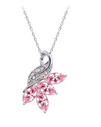 Crystal Leaves Pendant Necklace