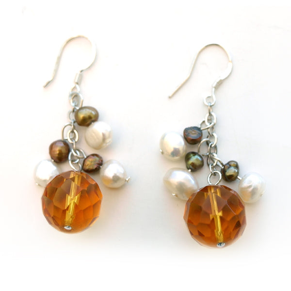 Orange Quartz Drop Earrings
