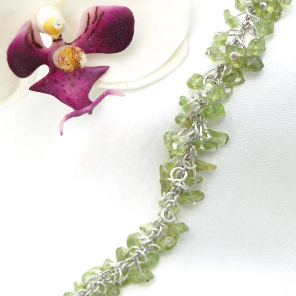 Transluscent Green Cluster Bracelet, 7 inches with Extendable Chain