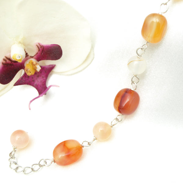 Multi-Colored Agate Bracelet, 7 inches with Extendable Chain