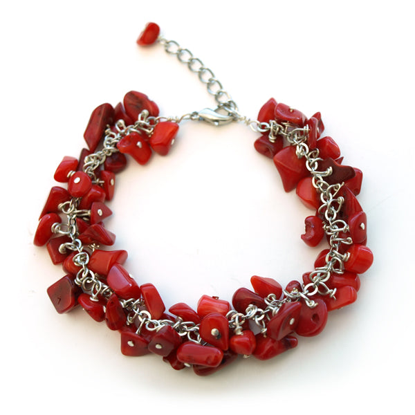 Red Coral Cluster Bracelet with Extendable Chain, 7.5 inch