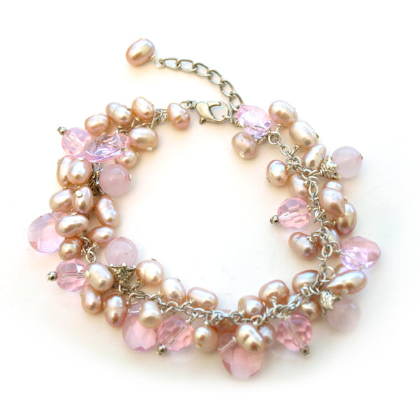 Pink Rose Quartz Cluster Bracelet, 7 inches