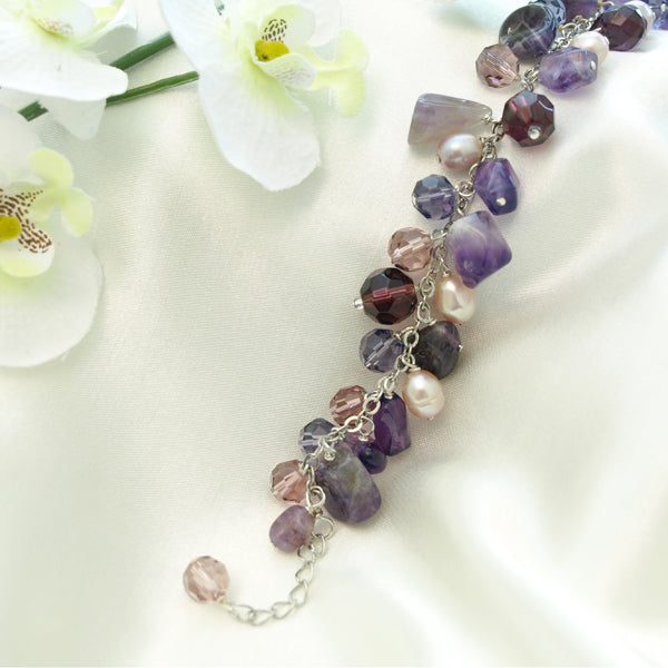 Purple Crystal Bracelet with Extendable Chain, 6.7 inches