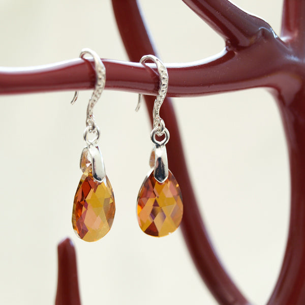 Amber Colored Austrian Crystal Teardrop Earrings