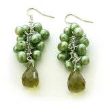 Green Cluster Dangle Earrings with Crystal