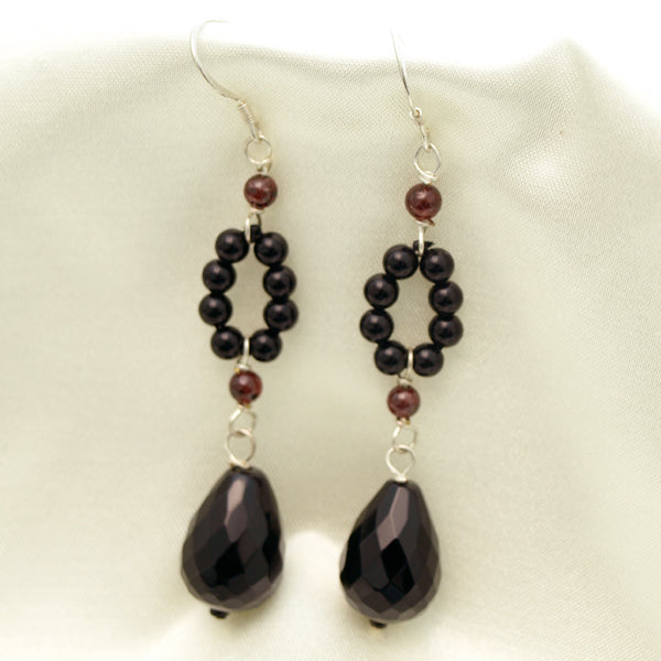 Black Agate Teardrop Dangle Earrings