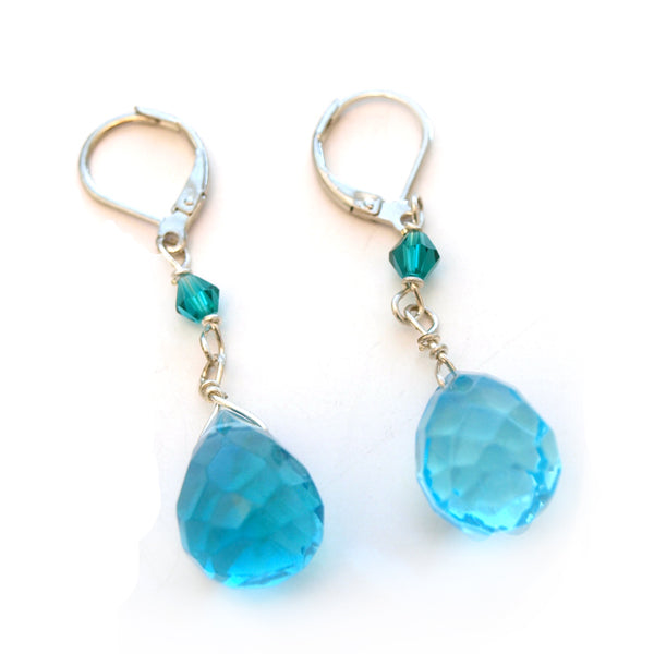 Blue Crystal Raindrop Dangle Earrings