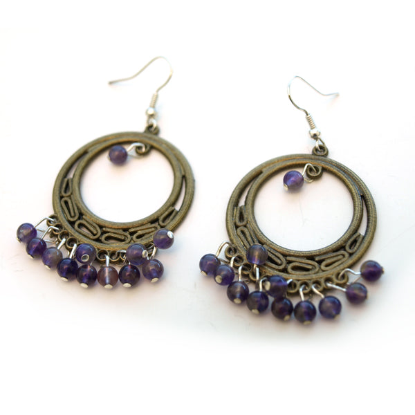 Amethyst Round Chandelier Earrings