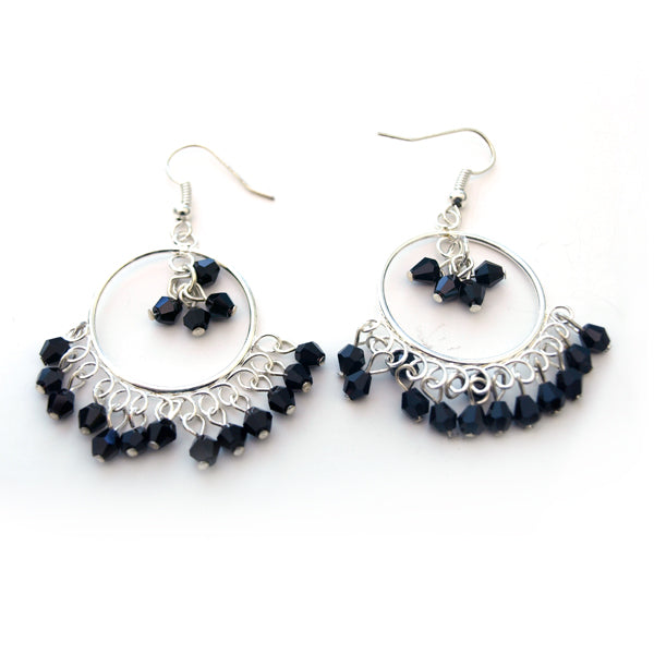 Black Crystal Round Chandelier Earrings