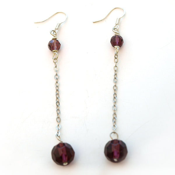 Purple Crystal Disco Ball Dangle Earrings