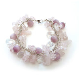 Rose Quartz Cluster Bracelet with Extendable Chain, 7 inches