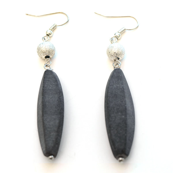 Grey Leaf Shaped Dangle Earrings