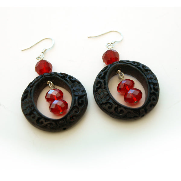 Red Crystal with Round Lacquerware Drop Earrings
