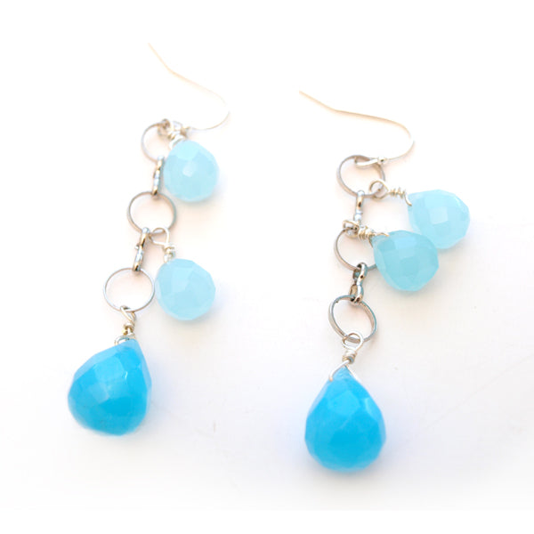 Blue Crystal and Quartz Dangle Earrings