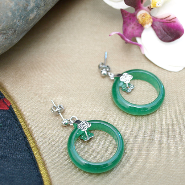 Green Jade Circle Earrings