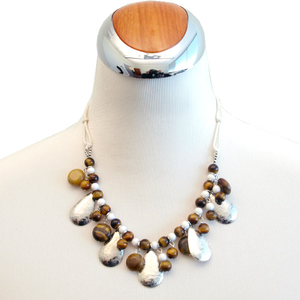 Beaded Tiger Eye and Silver Teardrops Necklace