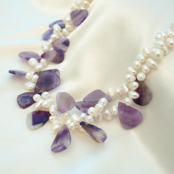 Purple Quartz Petals Necklace, 17 inches