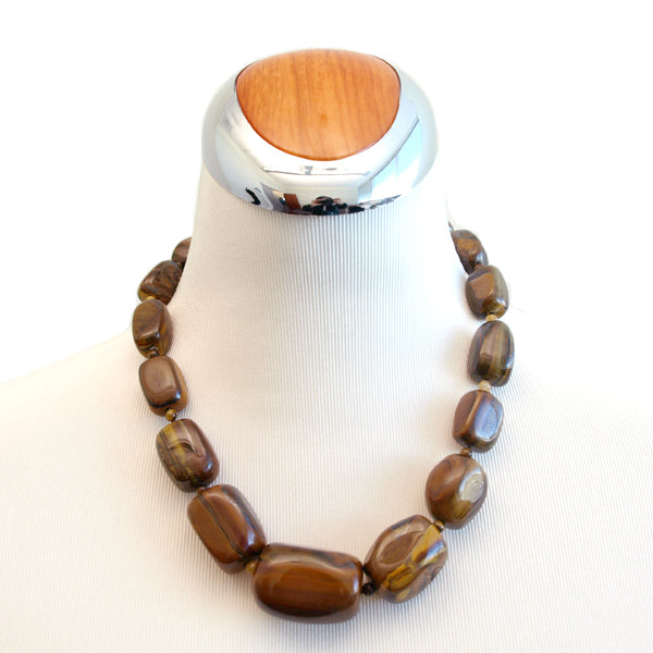 Chunky Tiger Eye Beaded Necklace, 17.5 inches