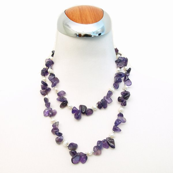 Amethyst and Pearl Long Necklace, 39.4 inches