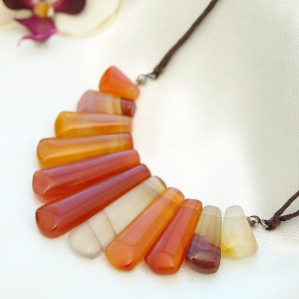 Multi-Colored Agate Necklace, 17.5 inches
