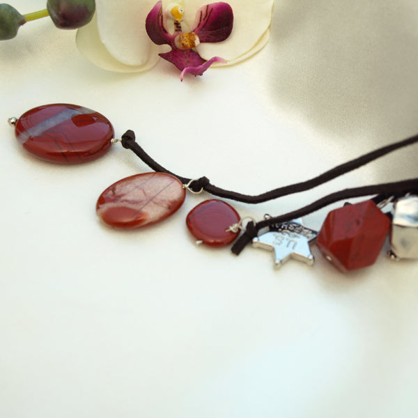 Red Jasper Pendant Drop Necklace with Charms, 23.6 inches