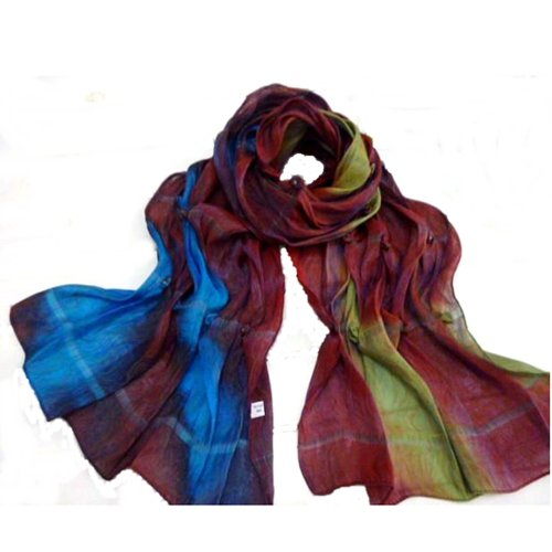 Vibrant Polyester and Silk, Ruched, Beaded Scarf