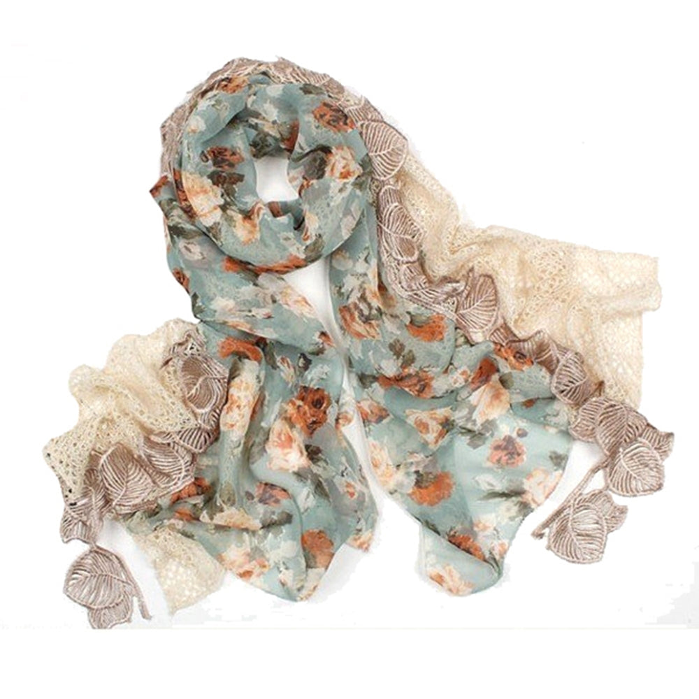 Floral Print Chiffon and Sequined Polyester Knit Triple Layer Lace Edge Scarf