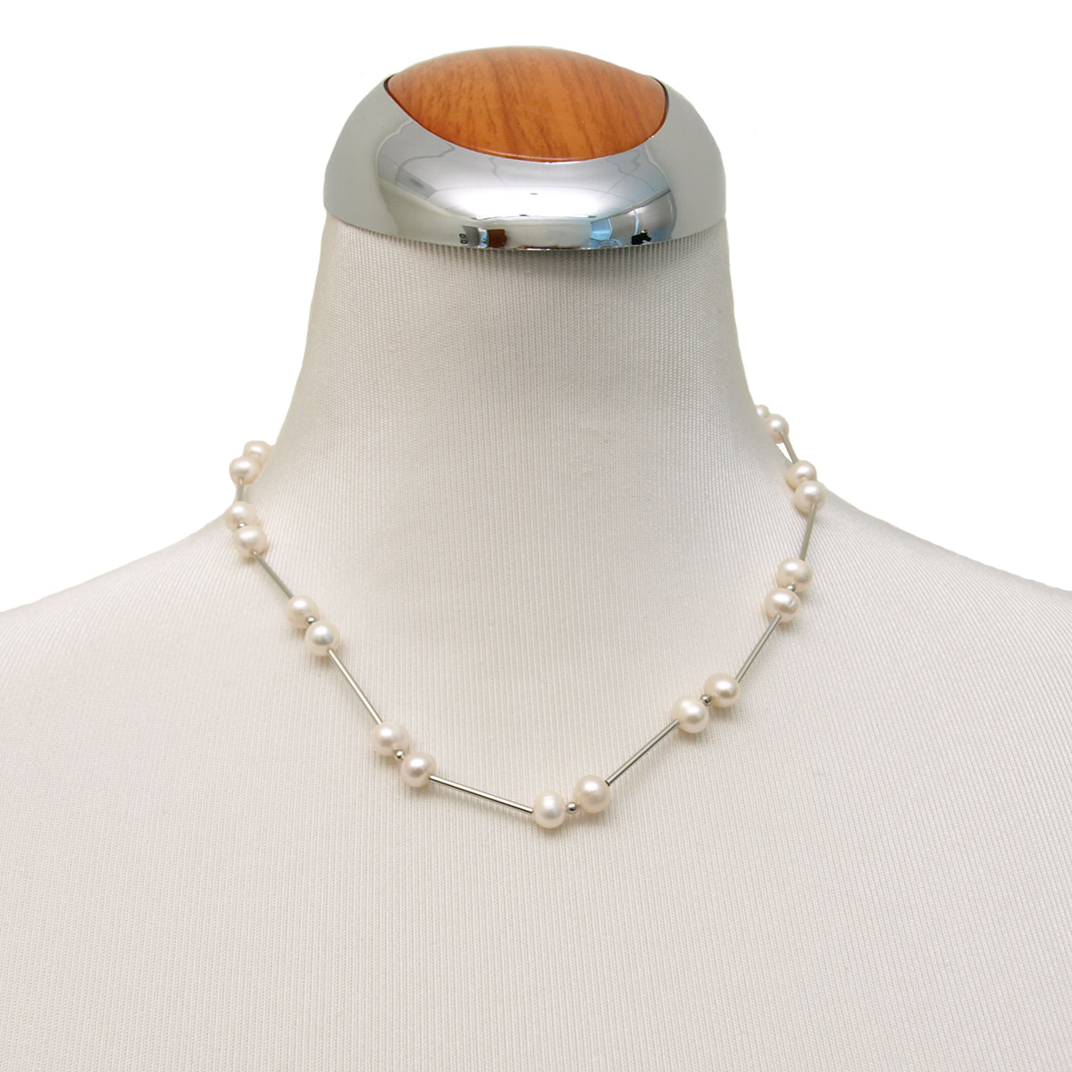Faux Pearl Tin Cup Necklace