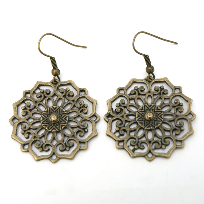 Vintage Floral Medallion Copper Dangle Earrings
