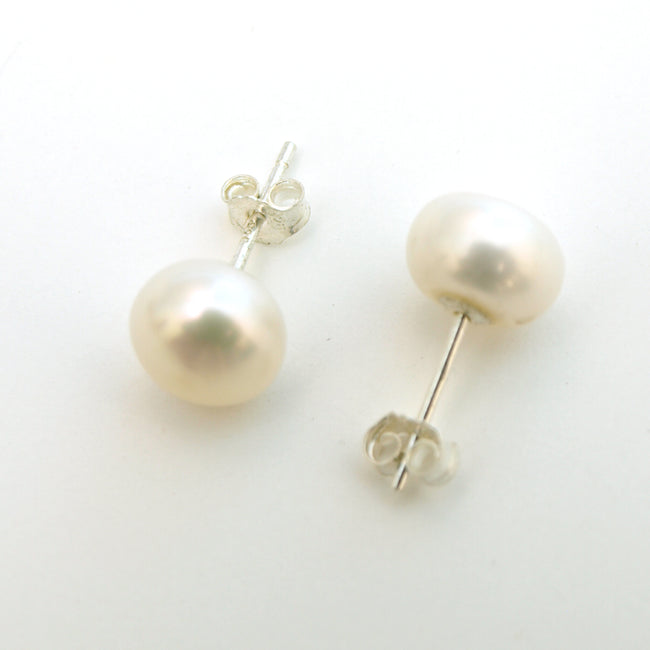 8-8.5mm White Faux Pearl Stud Earrings