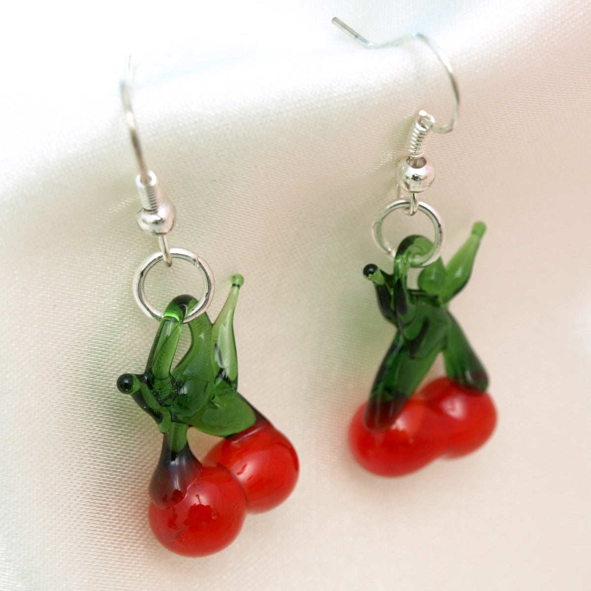Glazed Fruit Earrings - Cherry
