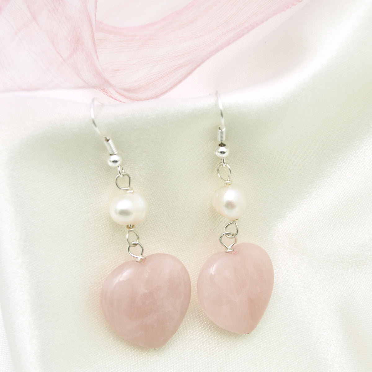 Heart Shaped Rose Quartz Dangle Earrings