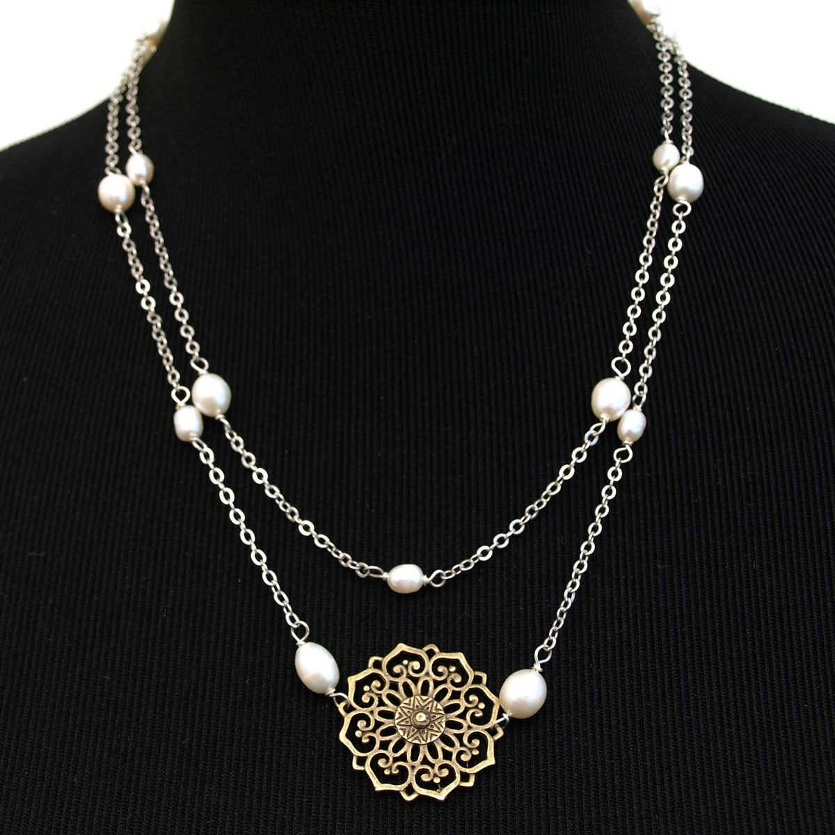 Vintage Floral Medallion Pendant Long Necklace, 43.3 inches