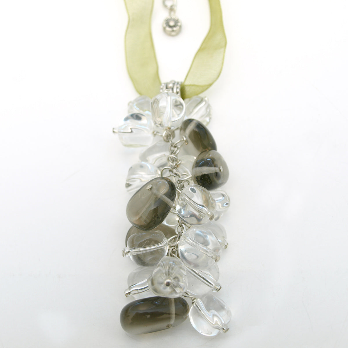 Crystal Cluster Drop Ribbon Necklace, 17.5 inches