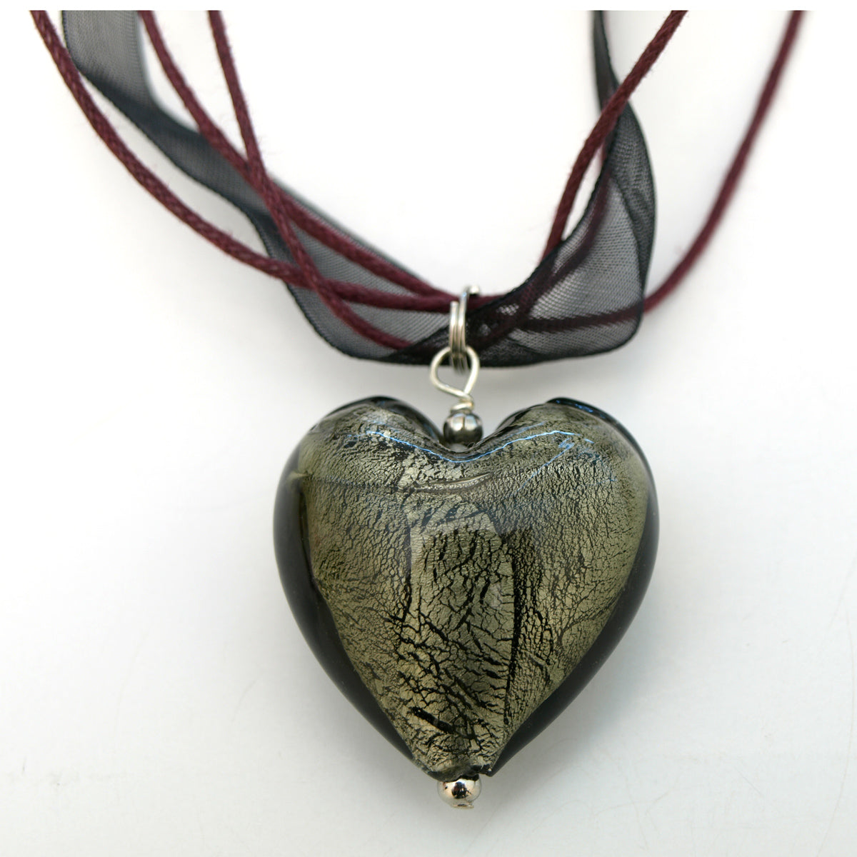 Glazed Heart Pendant Ribbon Necklace
